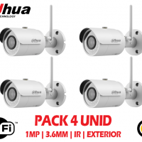 Kit 4 Camaras de Seguridad Wifi Exterior Dahua 1mp 2.8mm 30mts