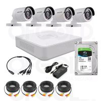 Kit Dvr 4 Ch Hikvision 4 Bullet Hd Disco Rigido Cable Fuente